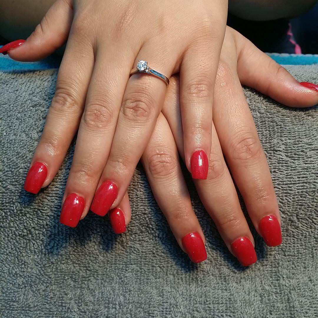 Red Acrylic Nail Design
