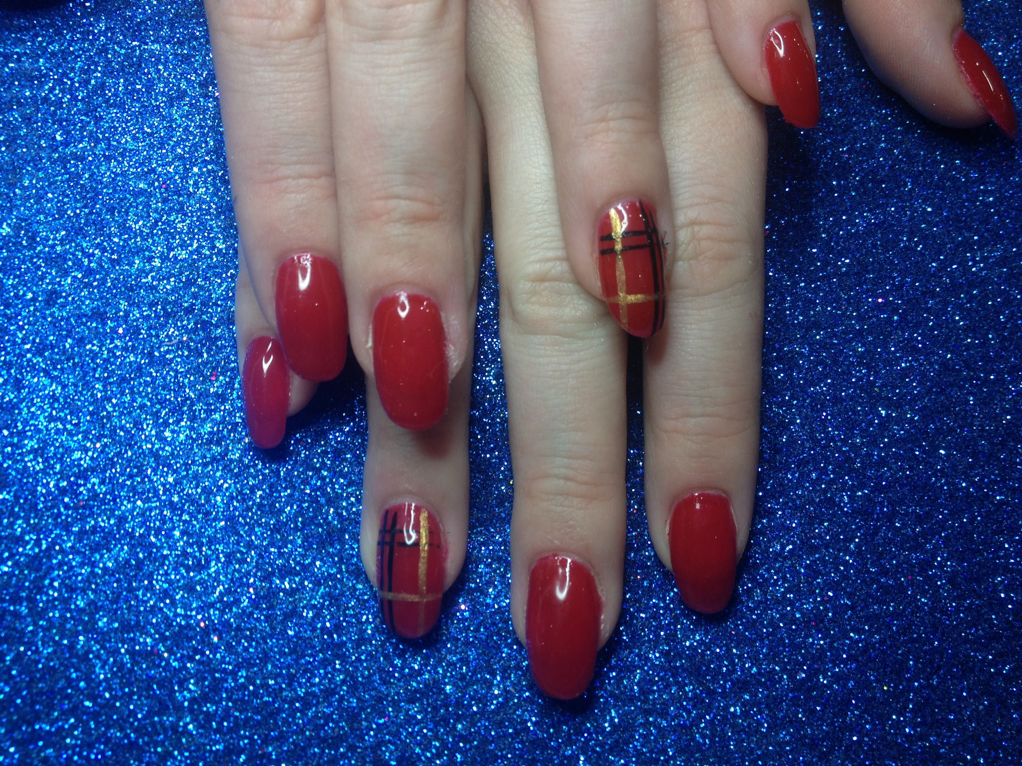 Red Shiny Acrylic Nail Design