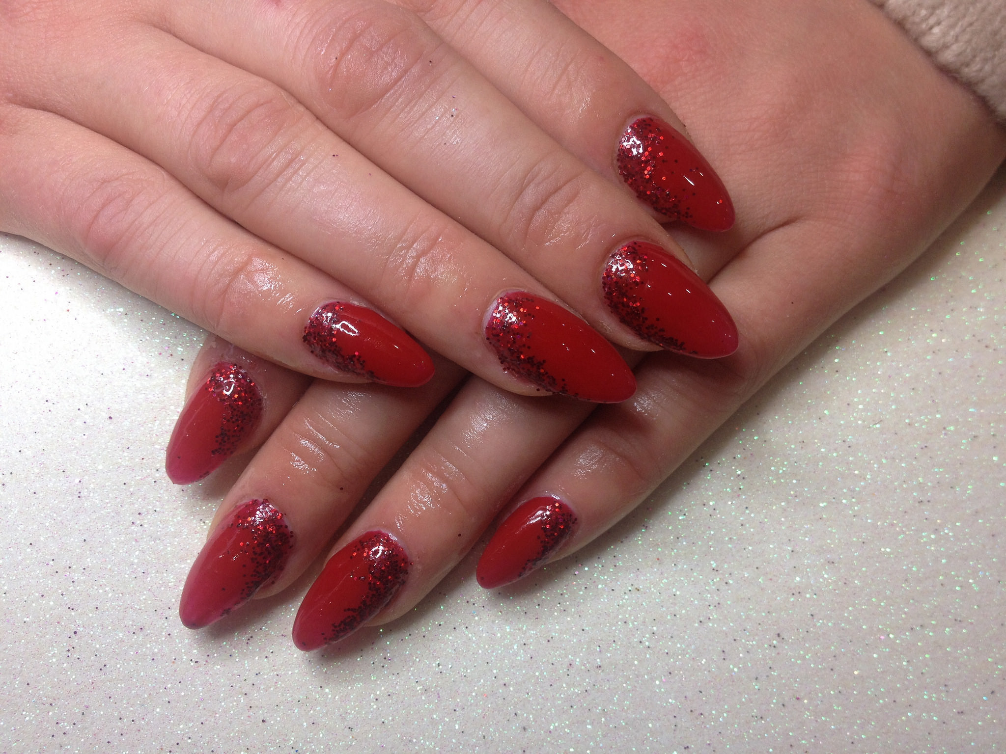 Shiny Red Acrylic Nail Design