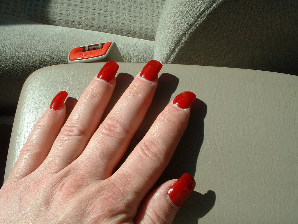 Short Red Acrylic Nail Design