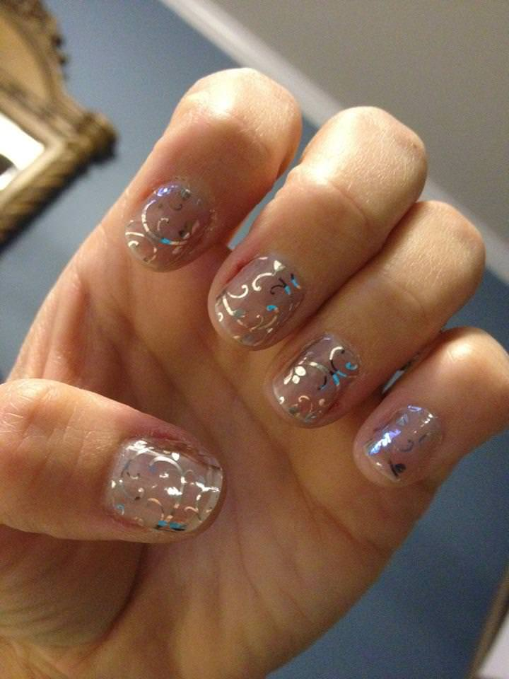 Silver Pink Nail Designs