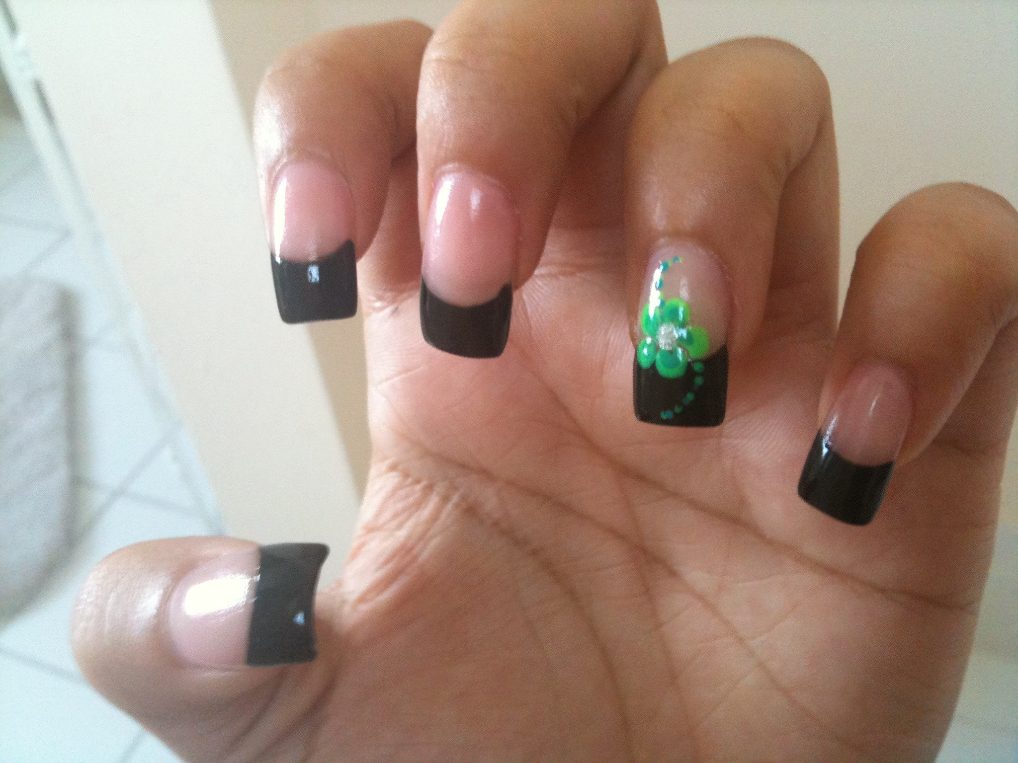 Simple Black Acrylic Nail Design