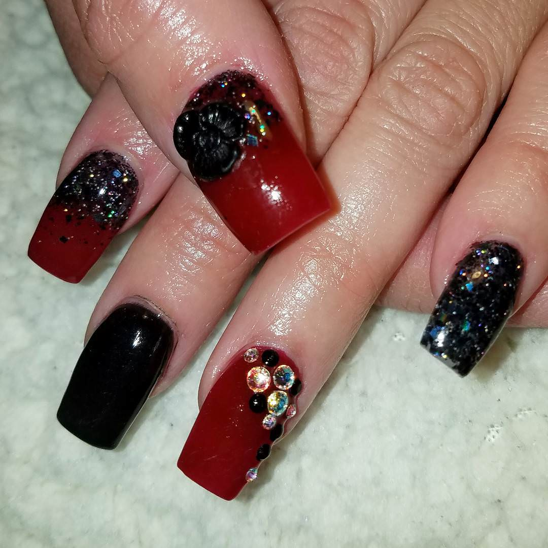 Black and Red 3D Nails Design