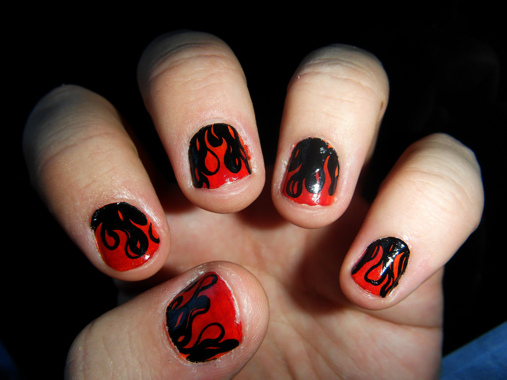 Black and Red Flames Nail Design
