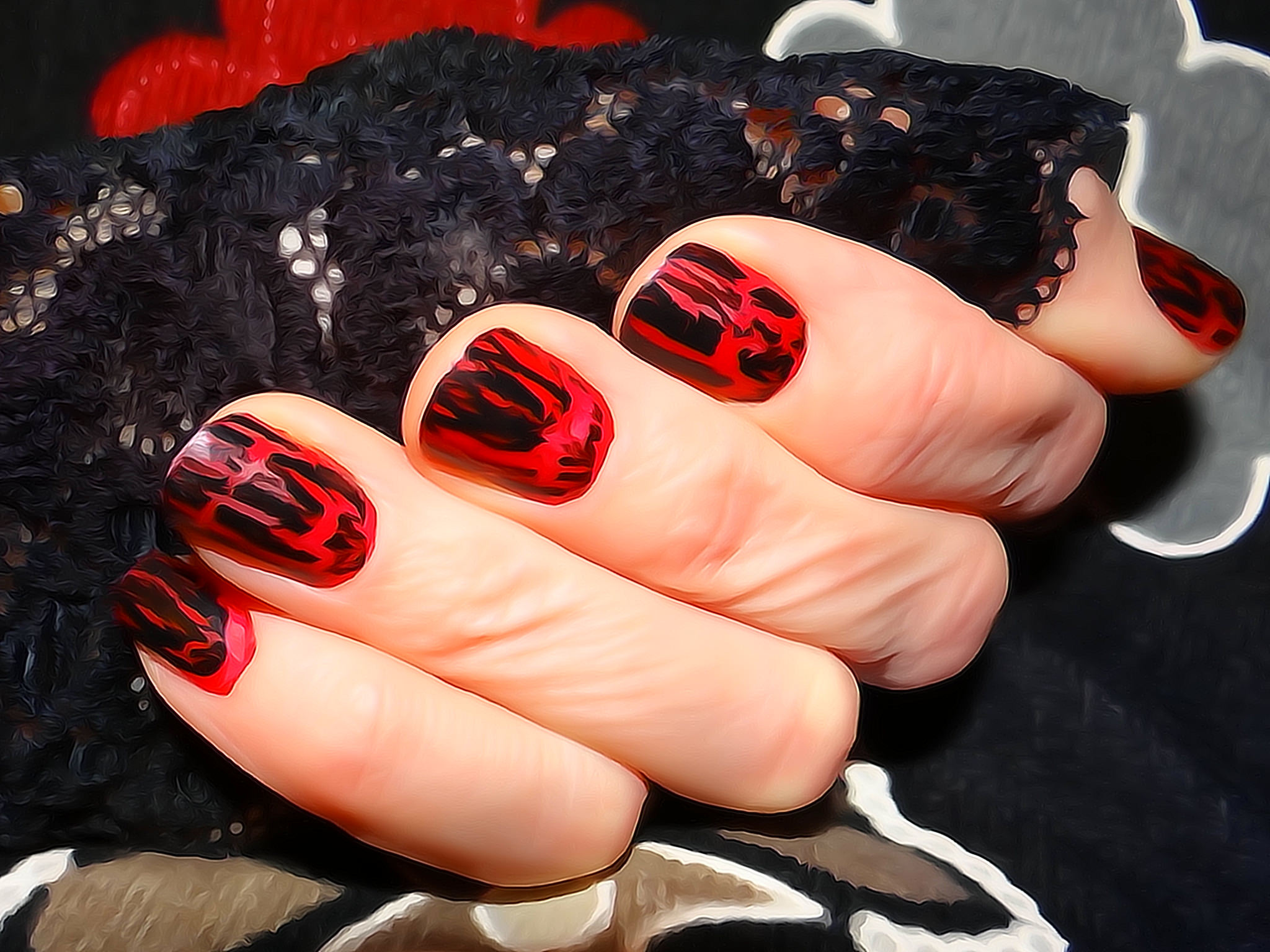 Black and Red Nails Design