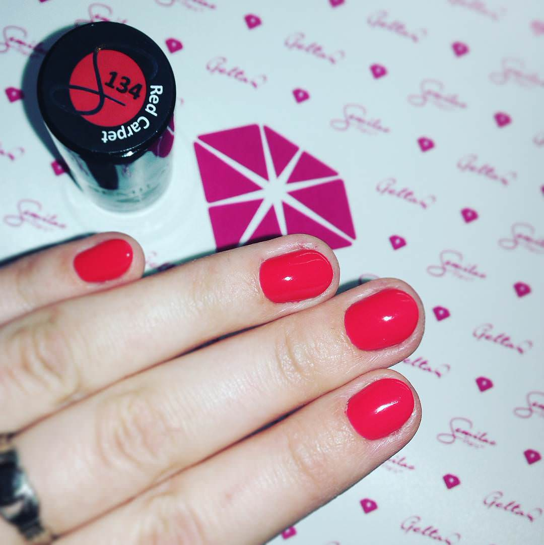 Cute Red Short Nails Design