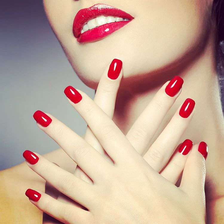 Perfection Red Nail Design - Pretty Red Nail Designs Design Trends - Premium PSD, Vector