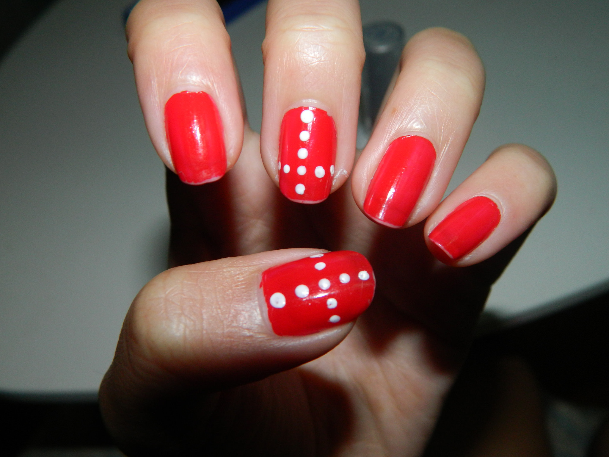 Red Dotted Finger Nail Design