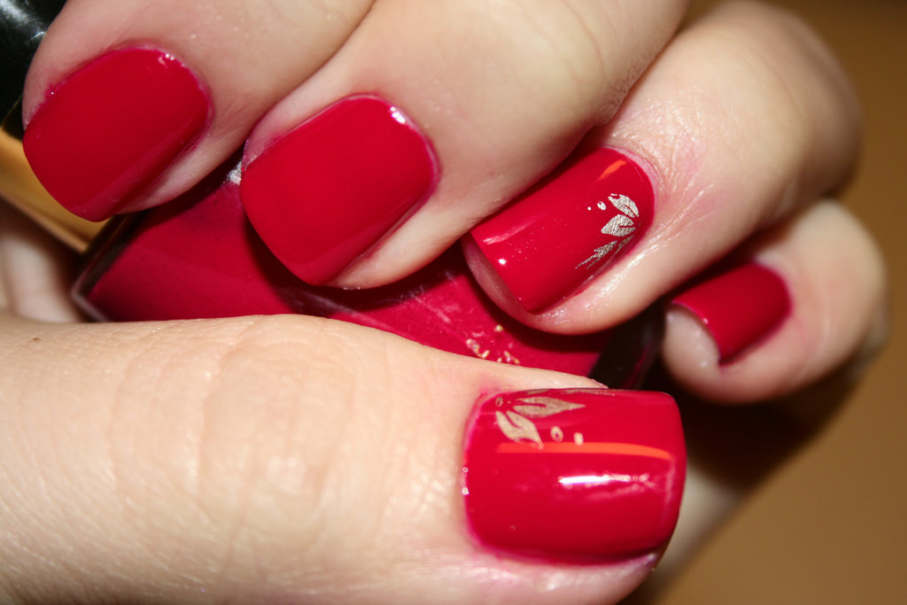 Red Finger Nail Design