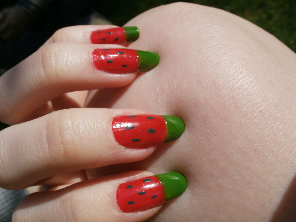 Red Watermelon Finger Nail Design