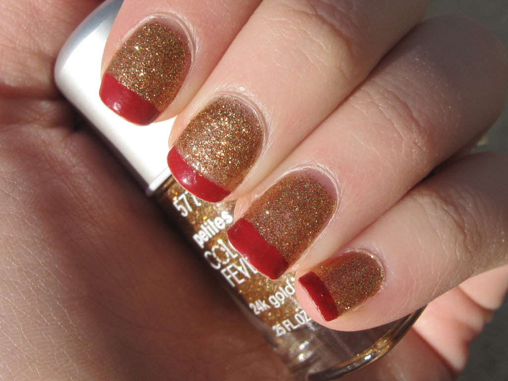 Red and Gold Glitter Nail Design