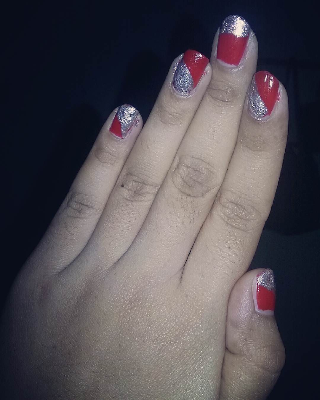 Red and Silver Glitter Nails