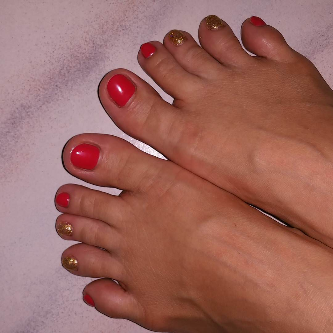 Red with Gold Toe Nail Design