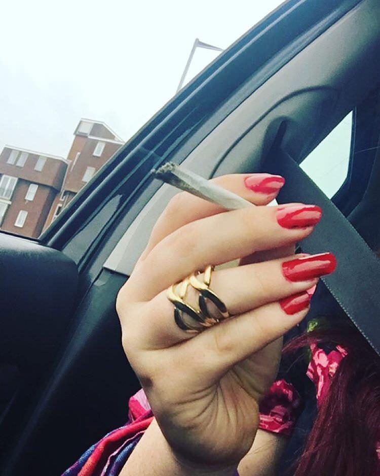spliff red nail design