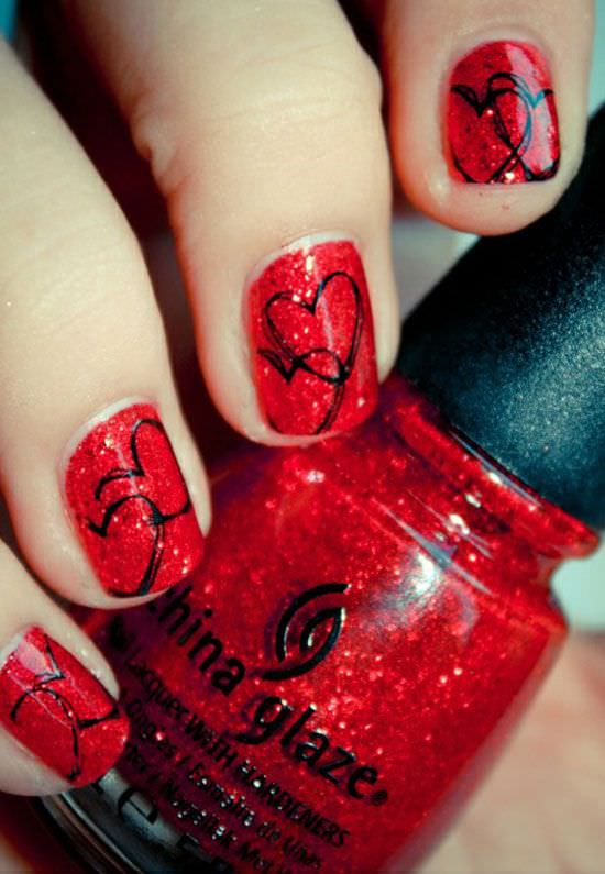 Valentine's Red Nail Design