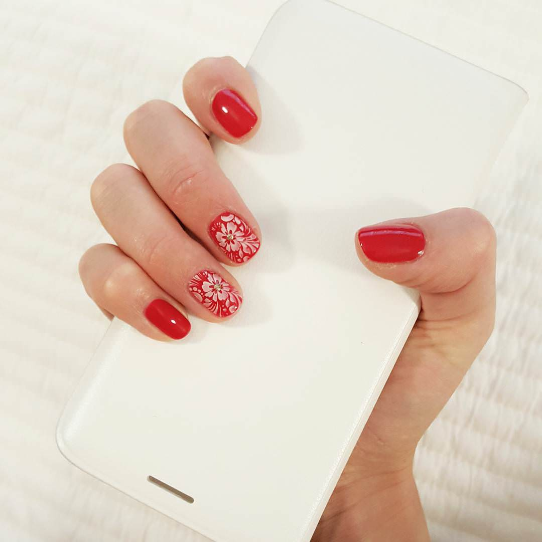 White And Red Nail Design
