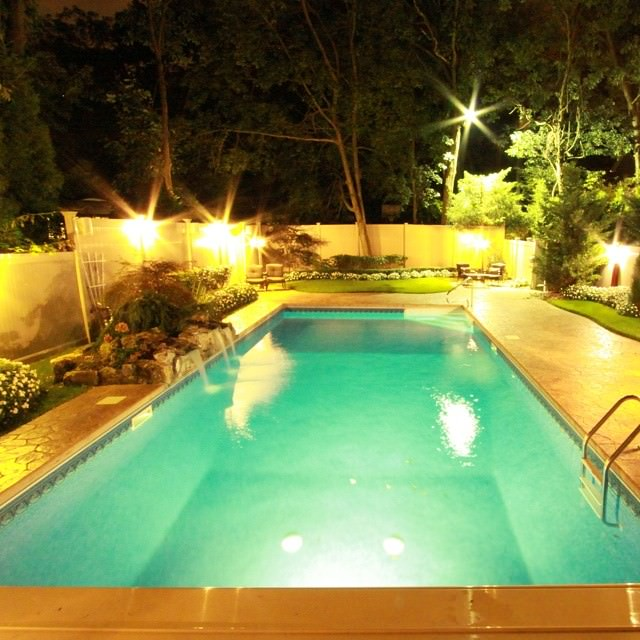 Rock Water Fall Swimming Pool Lighting Design