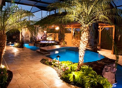 stone waterfalls swimming pool lighting design