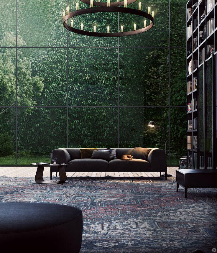 Glass Wall Living Room Interior Design