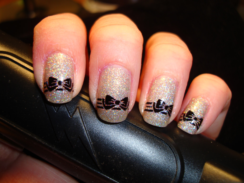 Black Line Bow Nail Design