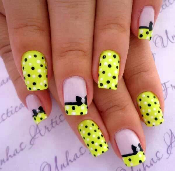 Polka Dot Bow Nail Design
