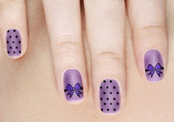 Purple Bow Nail Design