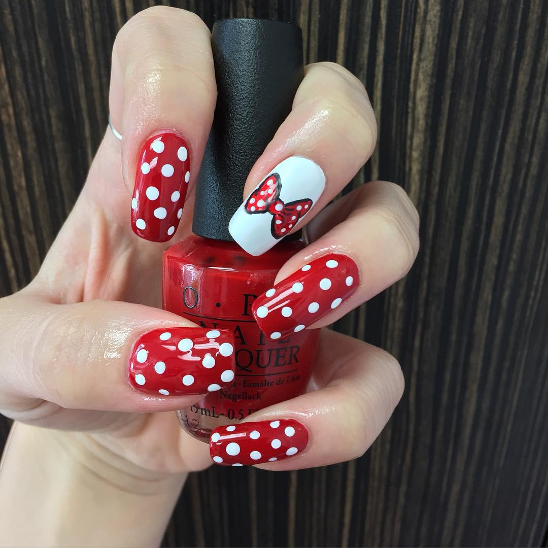 White And Red Bow Nail Design