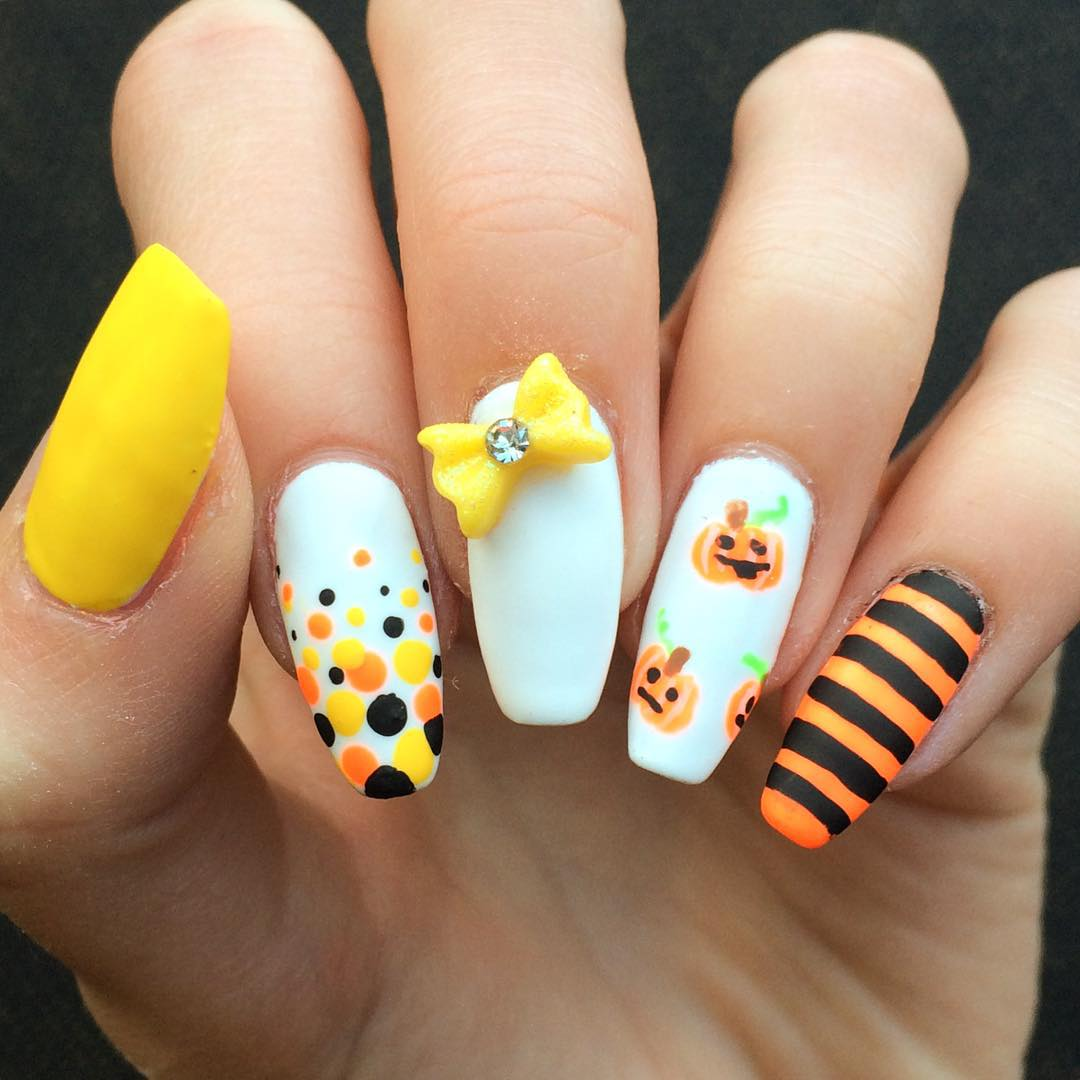 Yellow Bow Nail Design