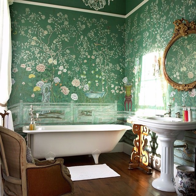 Flowers Bathroom Wallpaper Design. 10  Bathroom Wallpaper Designs   Bathroom Designs   Design Trends