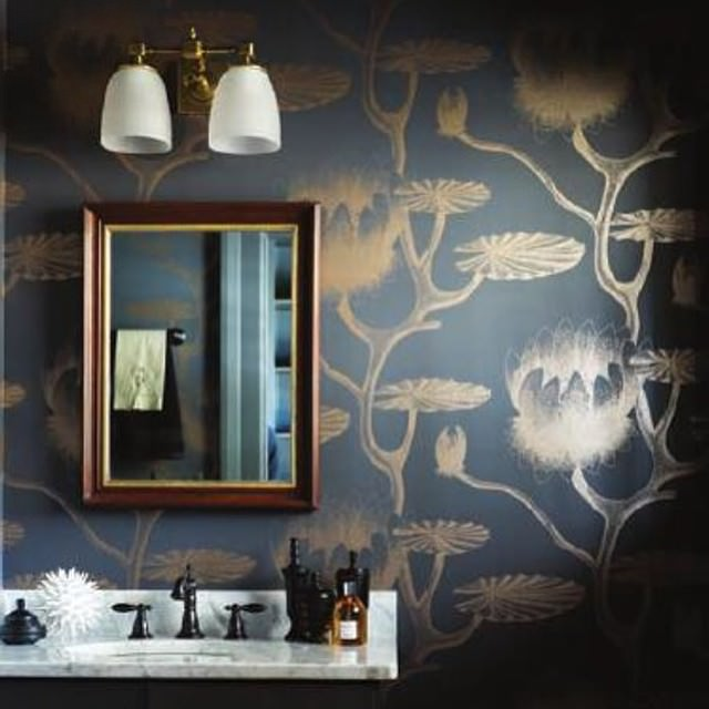 Lily Bathroom Wallpaper Design