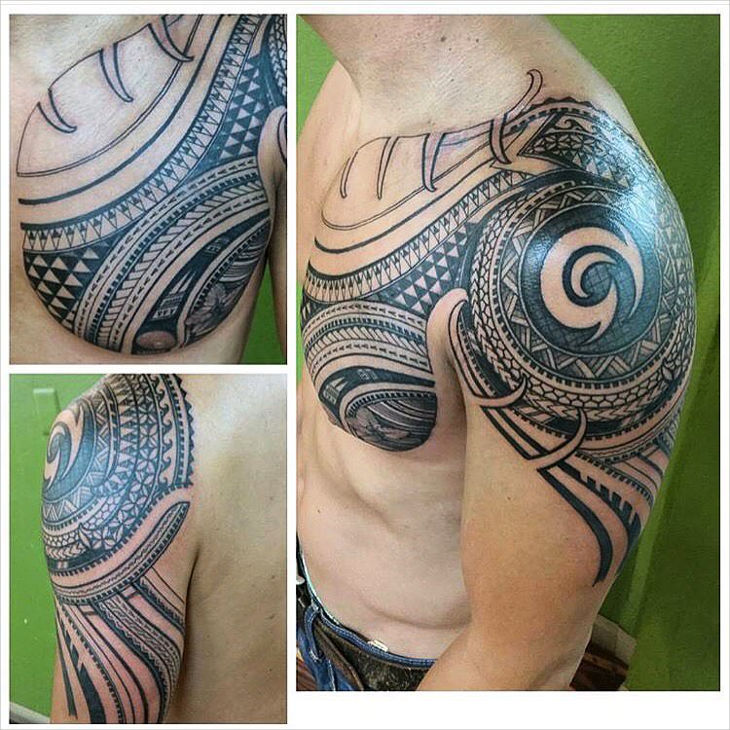 Polynesian Chest Tattoo Design