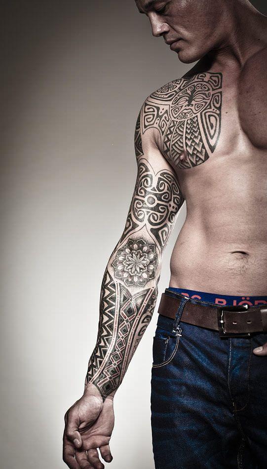 Trendy Polynesian Sleeve Tattoo
