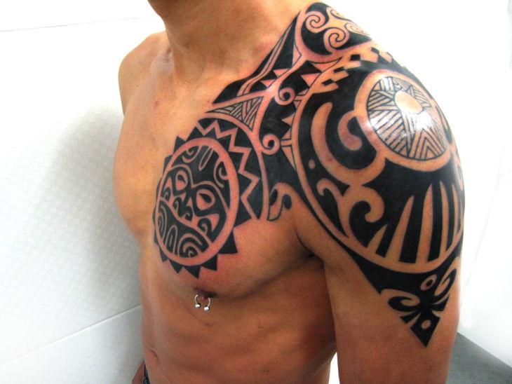 One Side Polynesian Hand Tattoo