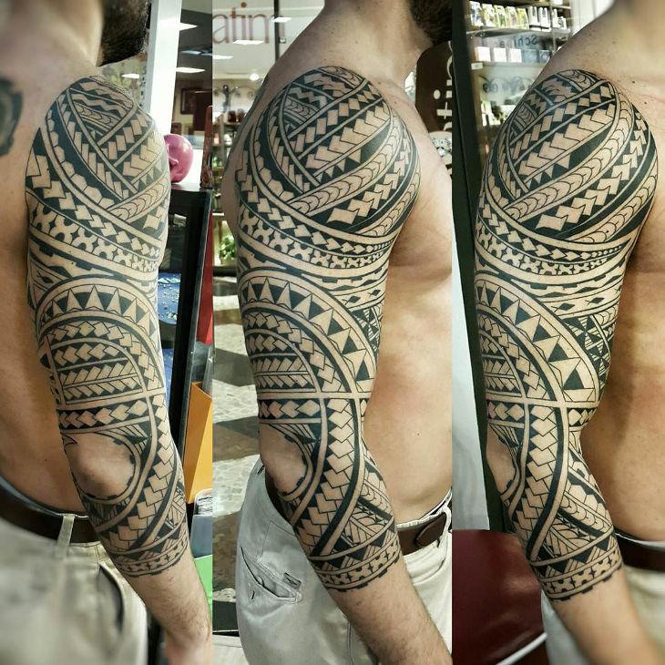 Poly Geometric Arm Band Tattoo