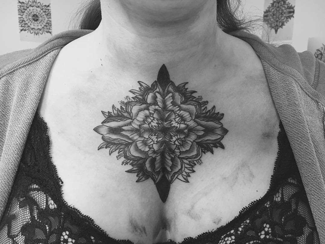 Geometric Mandala Chest Tattoo