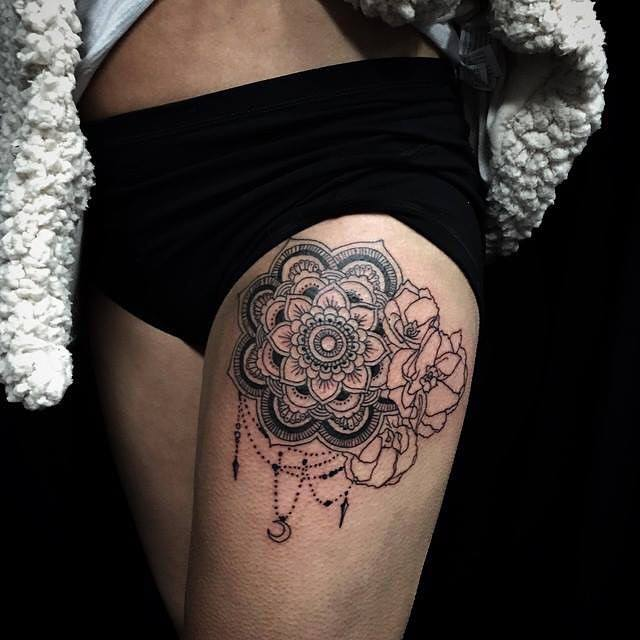 Mandala Rose Tattoo on Thigh