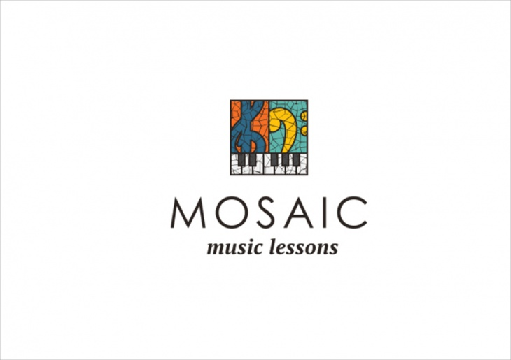 mosaic music lessons logo design