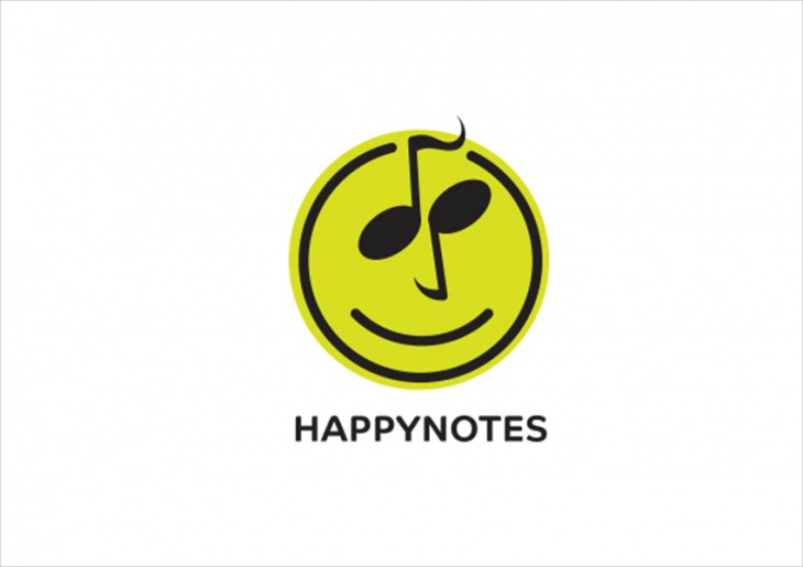 Happy Music Note Logo Design