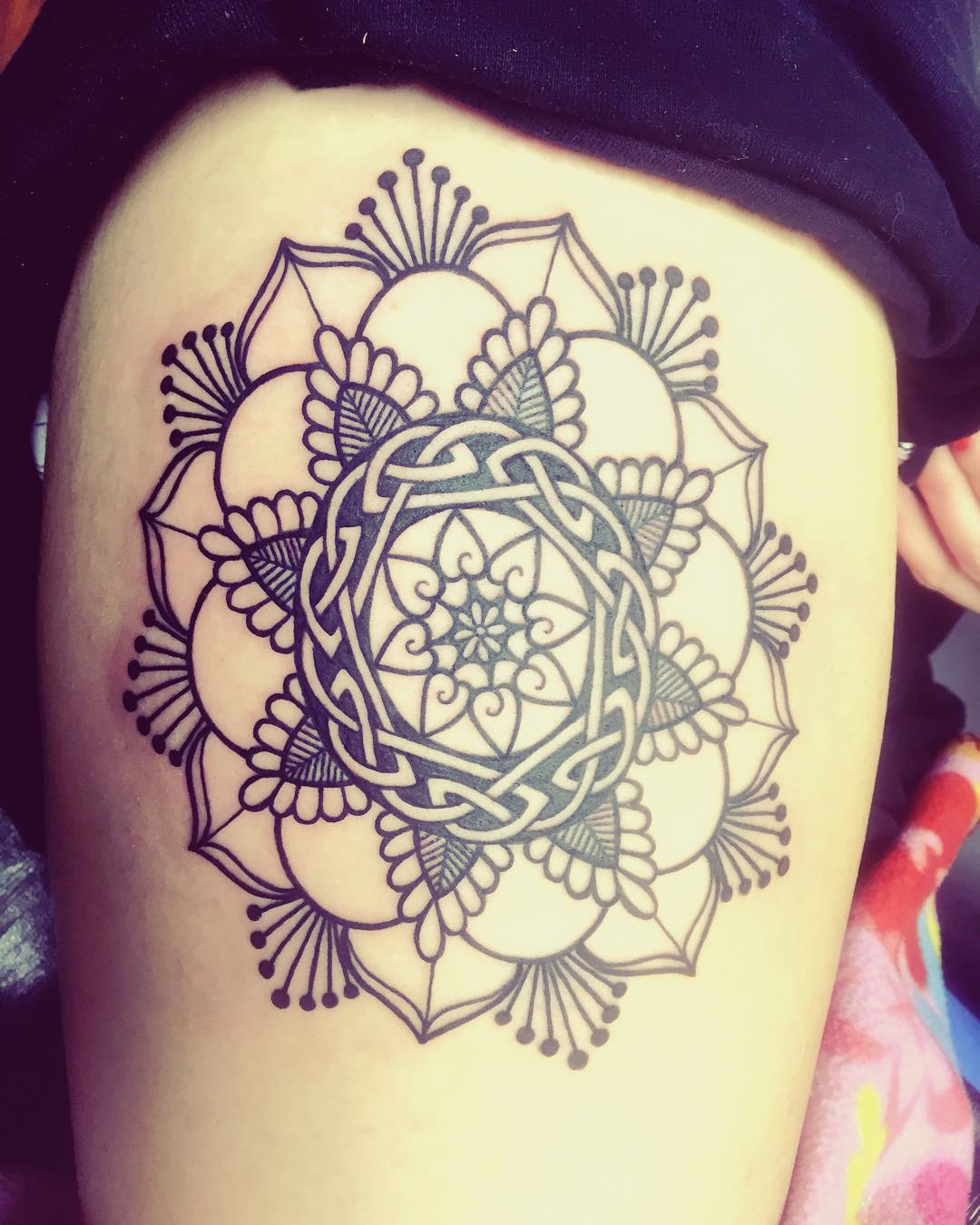 Celtic Mandala Tattoo on Thigh
