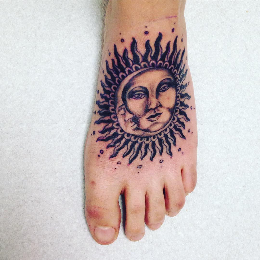 Sun Mandala Tattoo on Feet