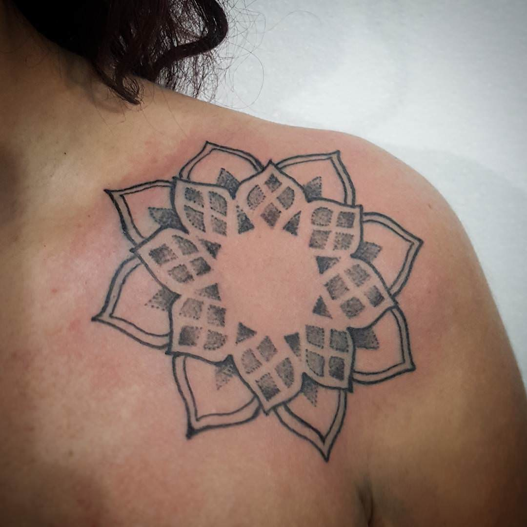 Sun Mandala Tattoo on Chest