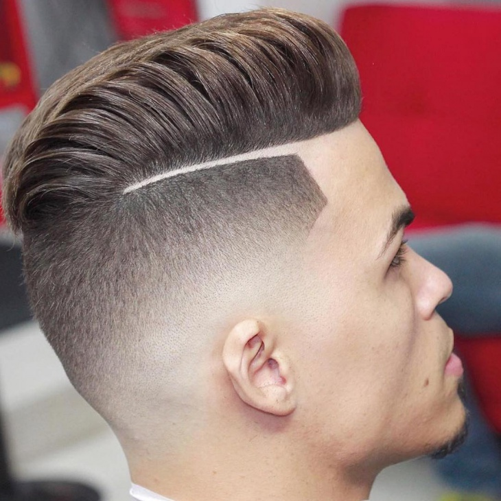 Comb Over Fade with Line