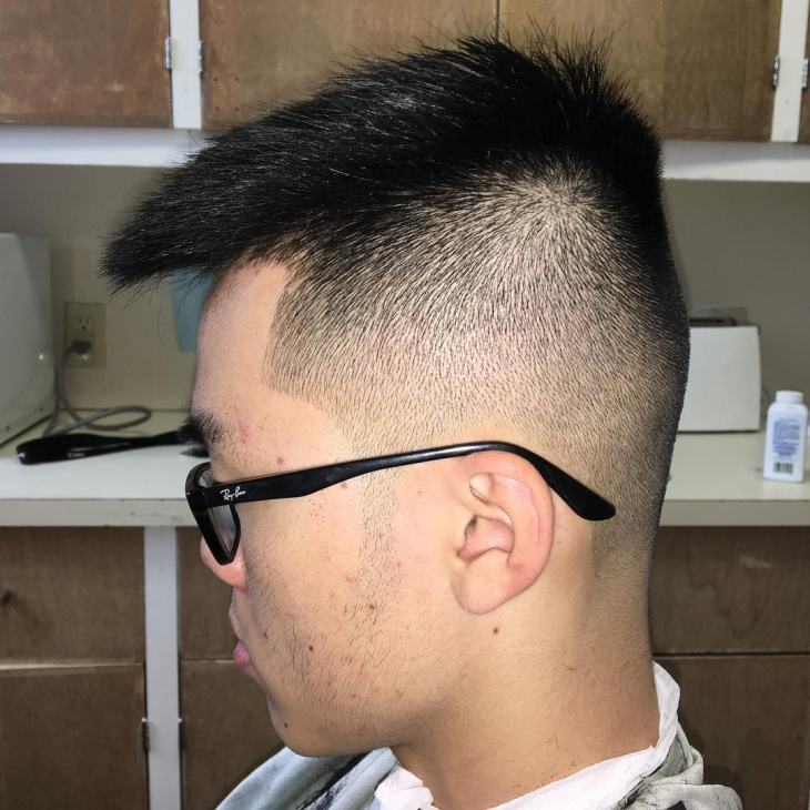 black fauxhawk fade haircut
