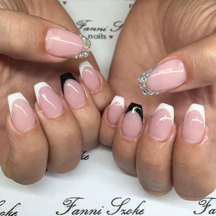 Stone French Tip Nail Manicure