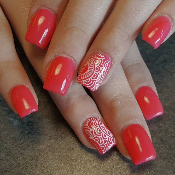 Red Square Nails Spring Nail Art