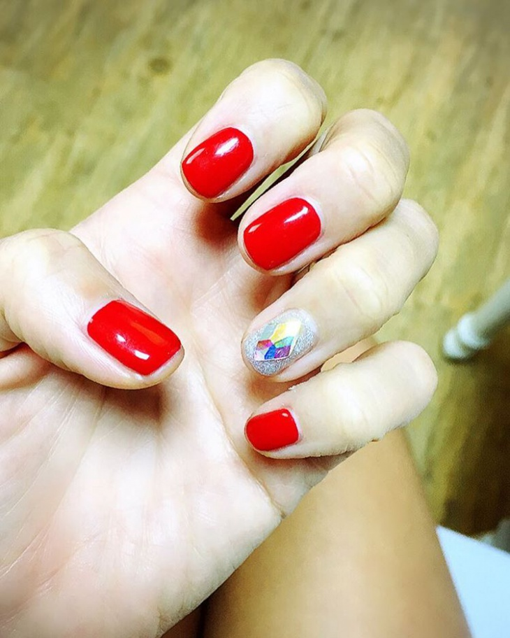 Squaoval Red Nail Design