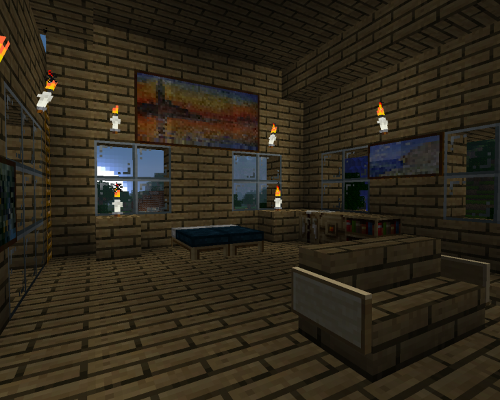 Master Minecraft Bedroom With Sofa
