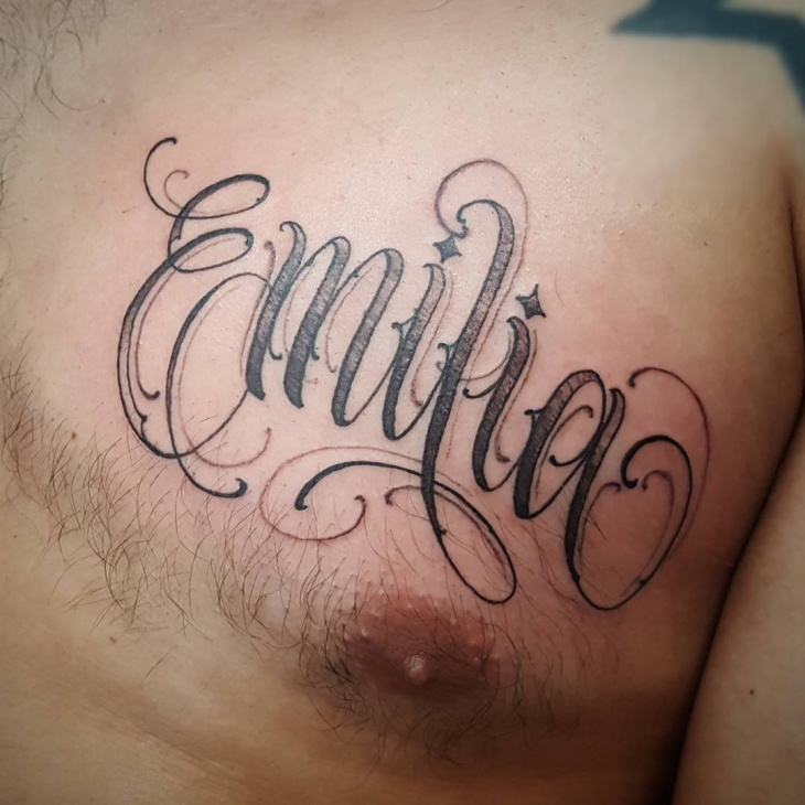 Script Name Tattoo On Chest