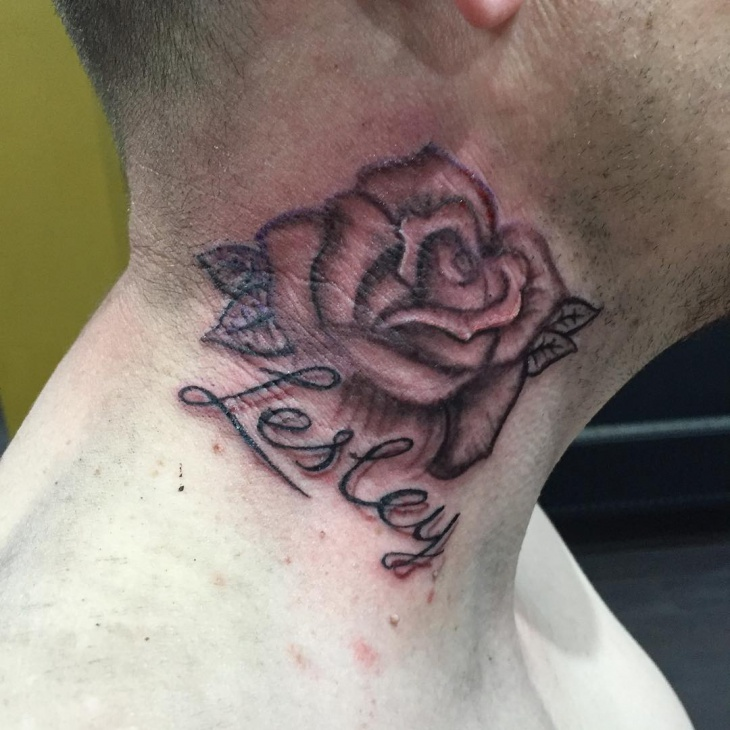 Rose Name Tattoo on Neck