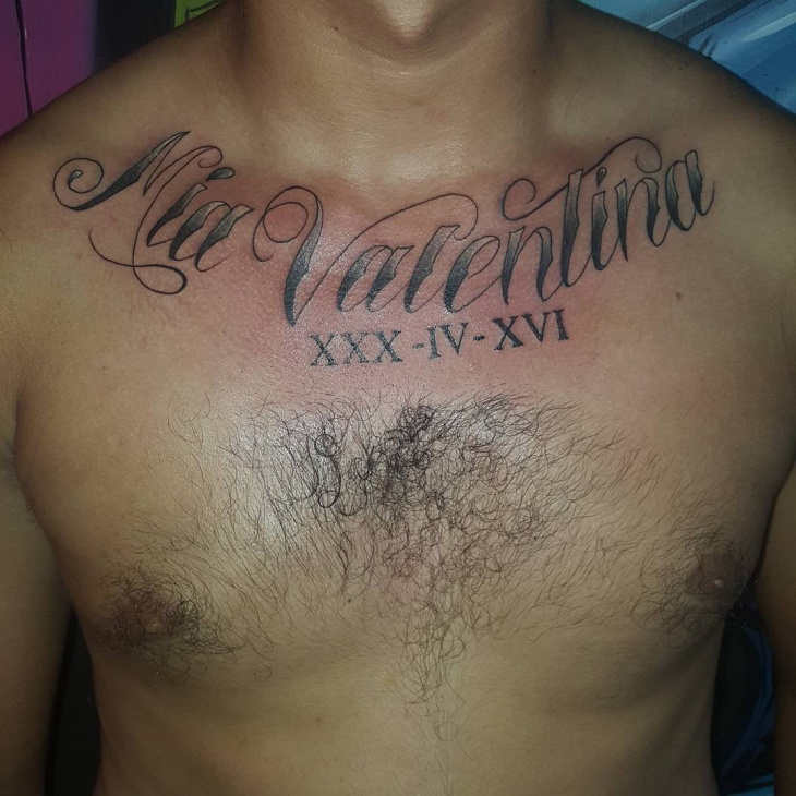 Stylish Name Tattoo on Chest